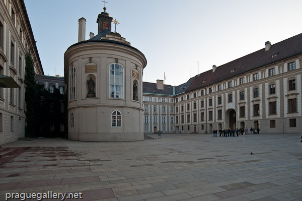The Chapel of the Holy Cross in the second courtyard of Prague Castle.