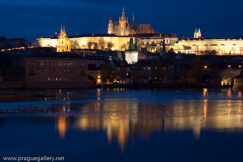 A night view of the castle from the opposite side of the Vltava