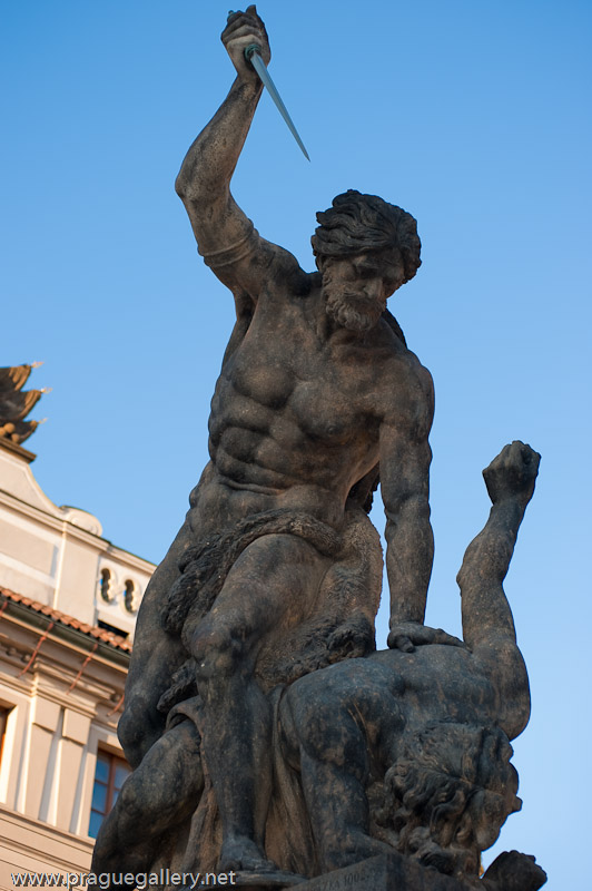 Ignaz Platzer's statue of a gladiator on the left of the gate to the Prague Castle.
