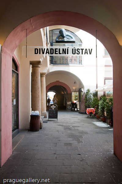 The entrance to the 'Divadlo v Celetna' (the Theater in Celetna), in Celetna Ulice
